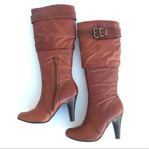 Aldo Wistful Knee High Boots Brown Leather 7.5/8
